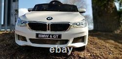 WHITE Kids Ride On Car Licensed BMW 6GT 12V Electric Battery Powered Music Play