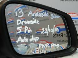 Bmw I3 Wing Miroir Côté Conducteur 5 Broches D'alimentation Automatique Fold Dip Andésite Argent 22/10