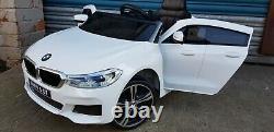 White Kids Ride On Car Licensed Bmw 6gt Batterie Électrique 12v Powered Music Play